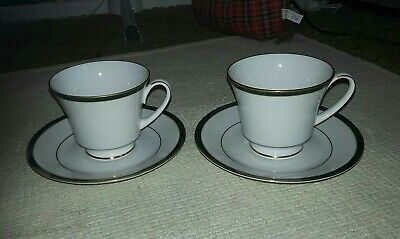 X2 Boots Hanover Green Pattern Tea Cups And Saucers  • 8.99£