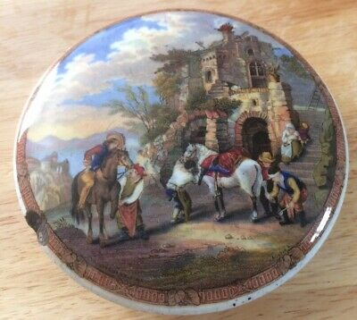 Prattware Pot Lid Featuring Painting By Philips Wouwerman. • 16£