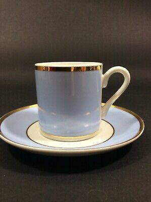 Set Of 4 Royal Doulton Blue & Gold Expresso Cups & Saucers. Ex Condition • 10£