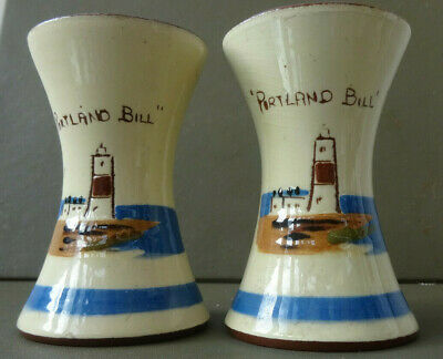 Pair Of Royal Watcombe Torquay Pottery Spill Vases - 'Portland Bill' • 9.99£