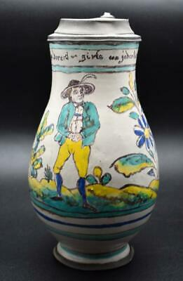 RARE ANTIQUE DATED 19thC GMUNDEN FAIENCE FAYENCE DELFT STEIN JUG PEWTER MOUNT • 7.49£