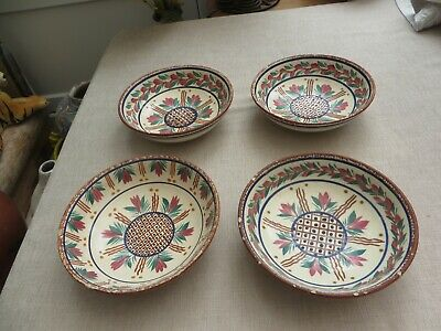 4 Stunning Quimper Large Pottery Bowls 270 PP HB? Pink/green  Floral Decorators • 15£