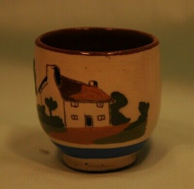 St Marychurch Pottery Cottage Egg Cup, Fresh To-day. Very Good Condition • 5£