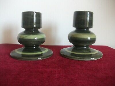 Pair Of Green Jersey Pottery Candle Holders • 10.95£