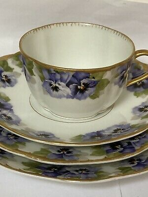 Vintage Rosenthal Breakfast Set (c 1905) Pansies With Gold Trim Good Condition • 17.99£