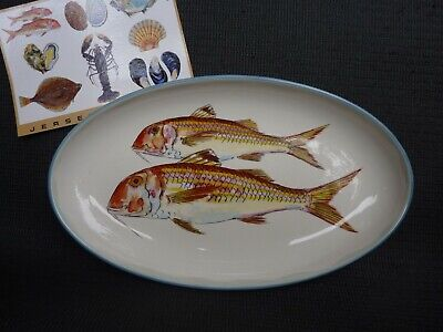 Jersey Pottery Richard Bramble  Red Mullet  Fish Serving Bowl Dish Oval Platter • 9.99£