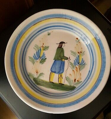 Antique Henriot Riou Faience Breton Plate, Marked HR, From Around 1893, 22.5cm • 25£
