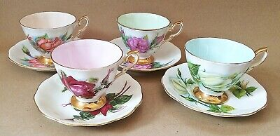 Paragon Harry Wheatcroft Famous Roses 4 X Cups & Saucers  • 34.95£