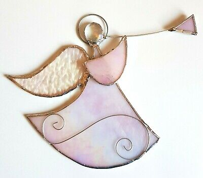 Pale Pink Guardian Angel Stained Glass Suncatcher Xmas Window Hanging Gift • 13.99£