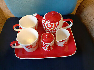 Whittard Of Chelsea Hand Painted Red Flower Tea Set For Two With Tray • 4.99£