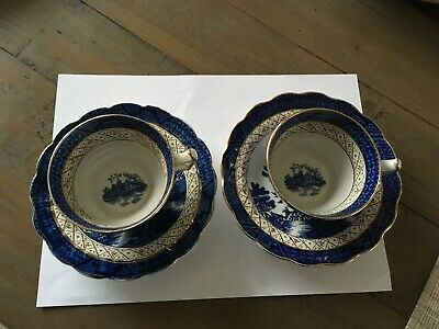 Booths Real Old Willow Vintage Pair Cups And Saucers Blue White And Gold • 4£