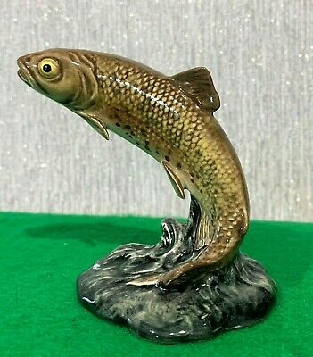 BESWICK FISH TROUT MODEL No 1390 BROWN & DARK GREEN GLOSS SMALL PERFECT • 59.99£