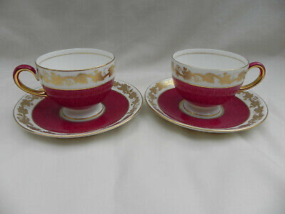 Wedgwood Whitehall Ruby W3994 Two TEA CUPS & SAUCERS. • 39.99£