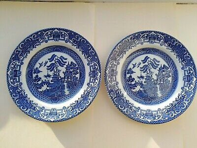 Pair Of Old Willow English Ironstone Pottery 7  Inch Side Plates • 5.95£