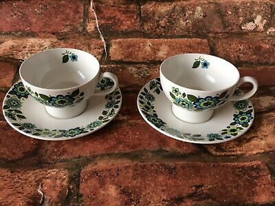 Vintage Pair Of Midwinter Mq2 Shape Cups And Saucers. April Flowers. Blue Green • 9£