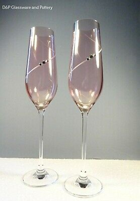 Portmeirion Auris Pink Champagne Flute Glass Set Of 2 • 34£