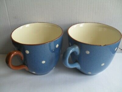 Pottery Domino Pattern Blue With White Spots,Cup X 2 • 3.99£