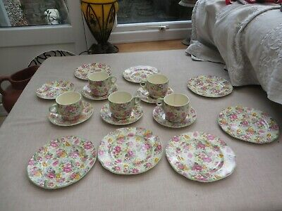 Antique Pretty Chintz Teaset Brexton China England 5 Cups/6 Saucers/7 Plates • 20£