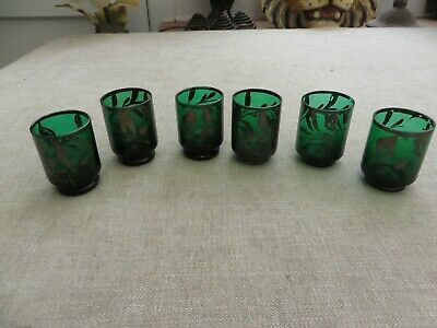 6 Antique Quality Emerald Green Glass Shot Glasses Silver Detail   • 10£