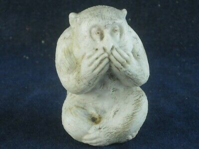 48296 Old Vintage Antique Pottery Figural Ornament Parian Bisque China Monkey • 10.50£