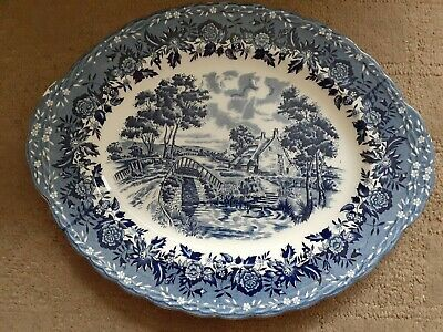W H Grindley Staffordshire Blue & White Country Style Large Serving Plate 14.5   • 3.99£
