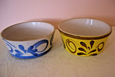 Vintage Hand Decorated Heavy Pottery Bowls X 2 • 4.95£
