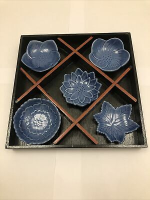 Japanese, Oriental Blue Small Plate Set Of 5 With Wooden Box • 15.99£