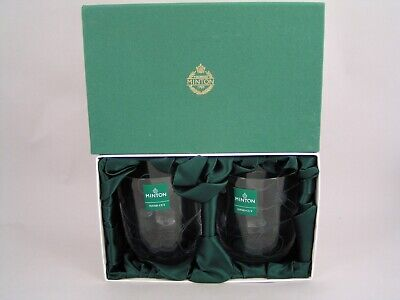 A Pair Of Minton Hand Cut Glass Low Tumblers, Boxed • 14.99£
