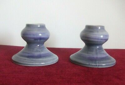 Pair Of Blue Jersey Pottery Candle Holders • 9.95£