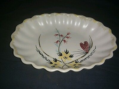 Small Vintage E. Radford England Handpainted Pottery Dish With Scalloped Edge. • 4.50£