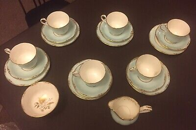 Aynsley Pale Blue Edged In Gold Tea Set • 45£