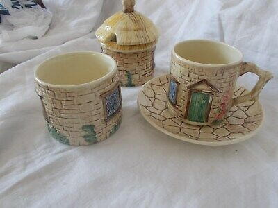 5 Pieces Sylvac Cottage Ware Cup/saucer Sugar And Jam With Lid • 9.99£