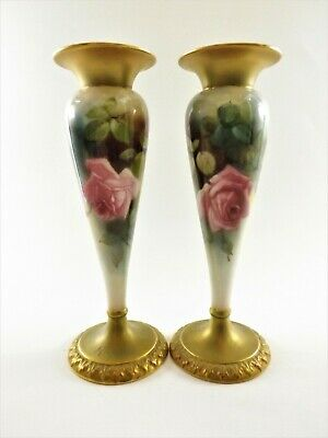 Stunning Pair Of Antique Royal Worcester Vases Dated 1912 Shape No 1931 Ref 122 • 112£