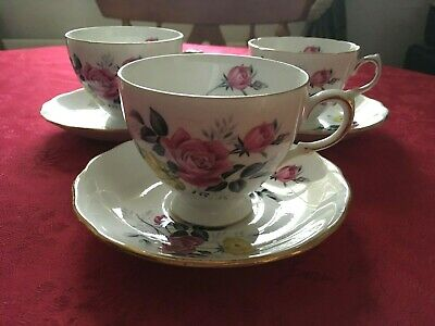 Vintage Royal Vale Pink Yellow Floral Bone China Set Of 3 Tea Cups And Saucers  • 9.50£