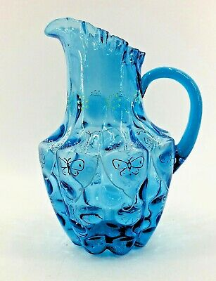 Vintage Blue Coin Dot Fenton Painted Butterfly Pitcher Optic Ruffle Crimped Rim • 131.66£