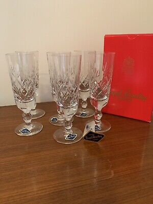 Six Royal Brierley Crystal Champagne Glass / Flute - 17.5cms (6-7/8 ) Tall • 60£