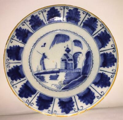 Rare 17th - 18th C English Ming Wanli Style Delft Plate W Ancantus Leaves 1680+ • 204.99£