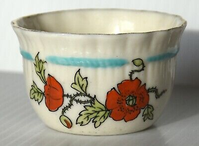 Crested China: Poppies (norfolk Poppyland) Bagware Bowl From Cromer Retailer • 6.99£
