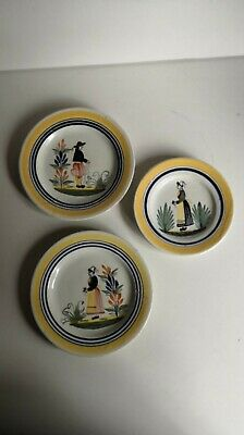 Antique Henriot Quimper Faience Signed Plates X 3 Hand Painted, 1 Damaged • 30£