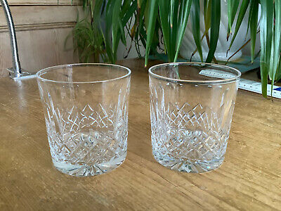 2 Signed Thomas Webb Crystal Normandy Tumblers 7.6cm X 7.0cm  F • 24£