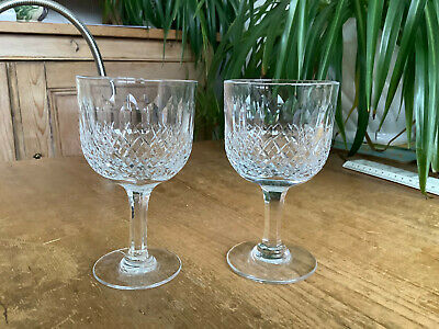 2 Signed Thomas Webb Crystal Normandy Wine Glasses 12.8cm X 7.4cm  G • 18.50£