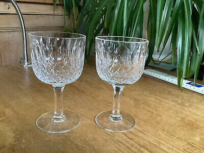 2 Signed Thomas Webb Crystal Normandy Wine Glasses 12.9cm X 7.3cm  H • 18.50£
