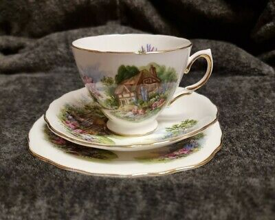 Royal Vale Country Cottage Bone China Tea Trio Cup/Saucer And Side Plate 7383 • 10£