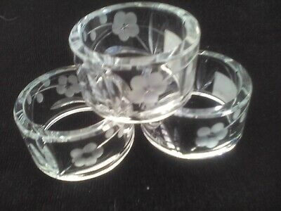 Napkin Rings X 3, Royal Doulton Clear Crystal, With Etched Daisy Flowers • 10£