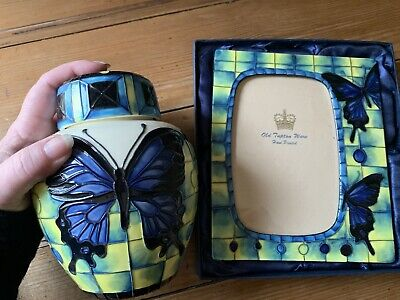 OLD TUPTON WARE Butterfly GINGER JAR & PICTURE  PHOTO FRAME SET Hand Painted • 79£