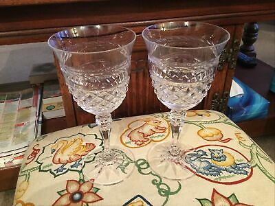 Galway Crystal Leah Cut Glasses X 2  Signed, 19.5cm Tall • 19.99£