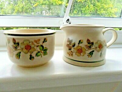Immaculate Marks And Spencer Autumn Leaves Pottery Milk Jug And Sugar Bowl • 6.99£